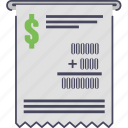 buying and selling, dollar, ecommerce, money, payment, receipt, tip icon