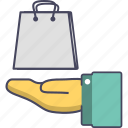 e commerce, hand, shop, shopping bag, store icon