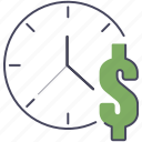 dollar, money, time icon