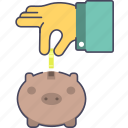 coins, hand, money, moneybox, saving icon