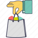 delivery, e commerce, hand, shop, shopping, shopping bag, store icon