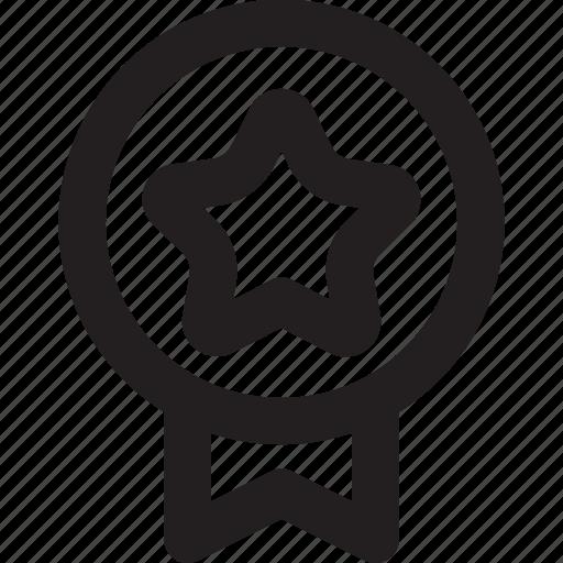 badge, medal, outline, reputation, star icon