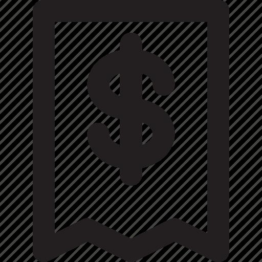 dollar, ecommerce, outline, print, receipt icon