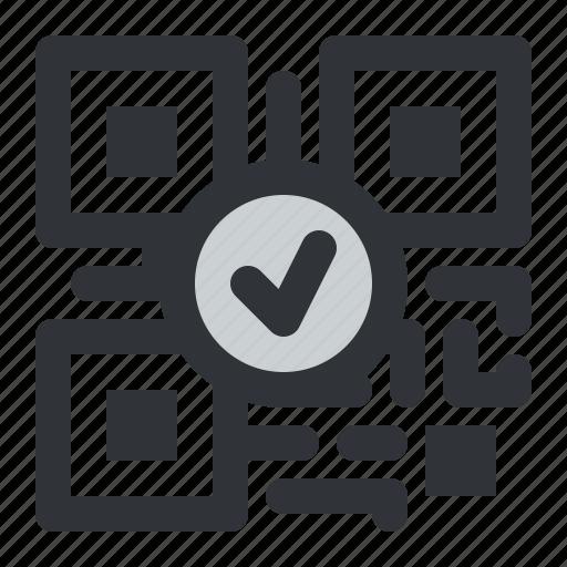 code, qr, verified icon
