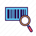 barcode, brand, commerce, glass, magnifying, scan, tag icon