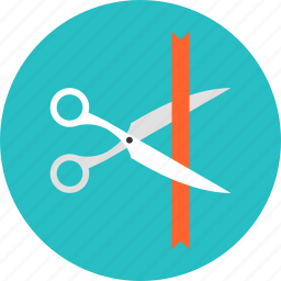 ceremony, cutting, launch, new, open, opening, sales, scissors, shopping, start, tailor icon