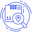courier search, package location, parcel tracking, track delivery icon