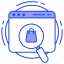 logistic search, online shopping, product search, shopping website, web search icon