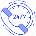 24/7 hr services, customer center, customer support, helpline, helpline services, telephone service icon