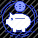 cash bank, money bank, money box, penny bank, piggy bank, savings icon