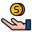 coin, finance, hand, money, save icon