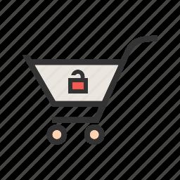 basket, buy, cart, market, shopping, trolley, unlock cart icon