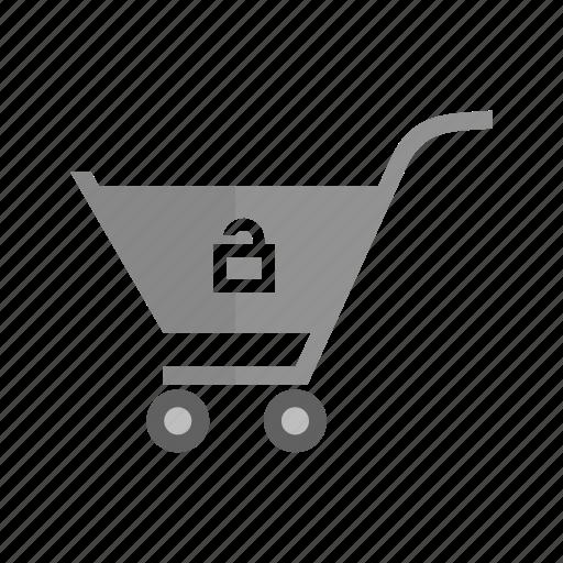 basket, cart, market, retail, shopping, trolley, unlock cart icon