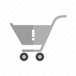 alert, attention, cart, caution, danger, trolley, warning cart icon