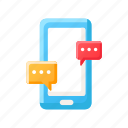 chat, conversation, live chat, message, smartphone, social media, texting icon