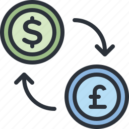 currency, dollar, ecommerce, exchange, pound, shopping icon