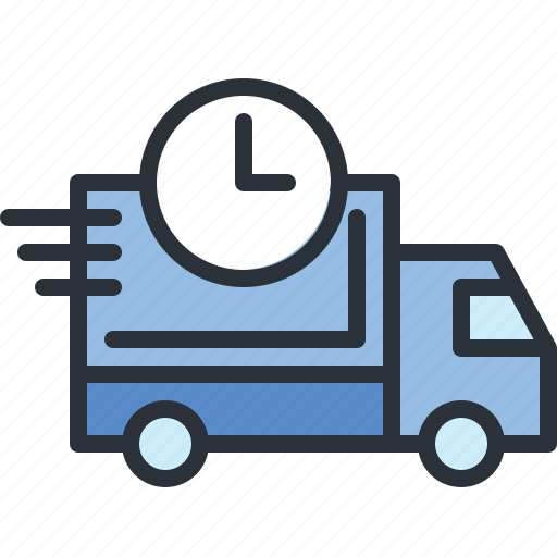 clock, delivery, e-commerce, time, transportation, truck, vehicle icon
