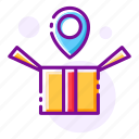 delivery location, gift, gift box, location, package, present, receiving icon