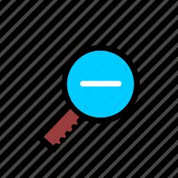 loupe, magnifier, minus, zoom icon
