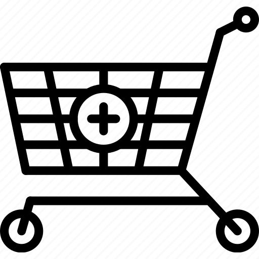 add, e-commerce, outline, shopping, to, trolley icon