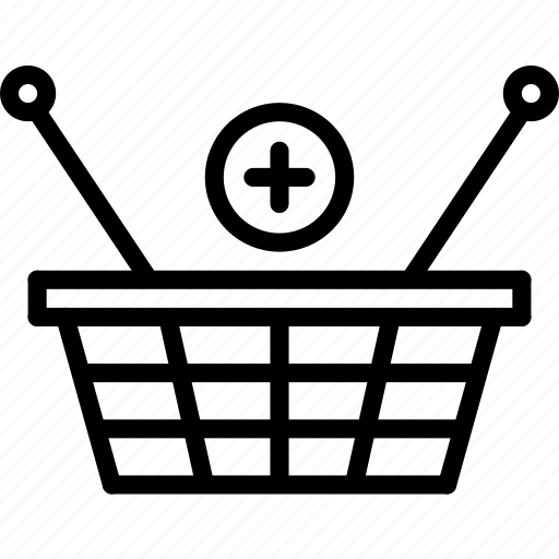 add, basket, e-commerce, outline, shopping, to icon