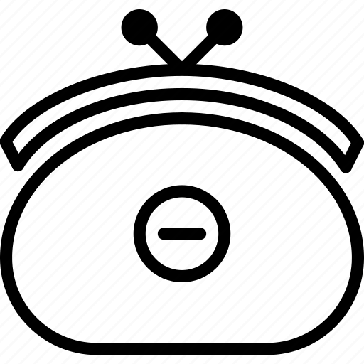 e-commerce, from, outline, purse, remove icon