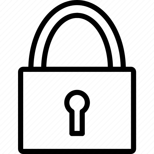 e-commerce, outline, padlock, secure icon