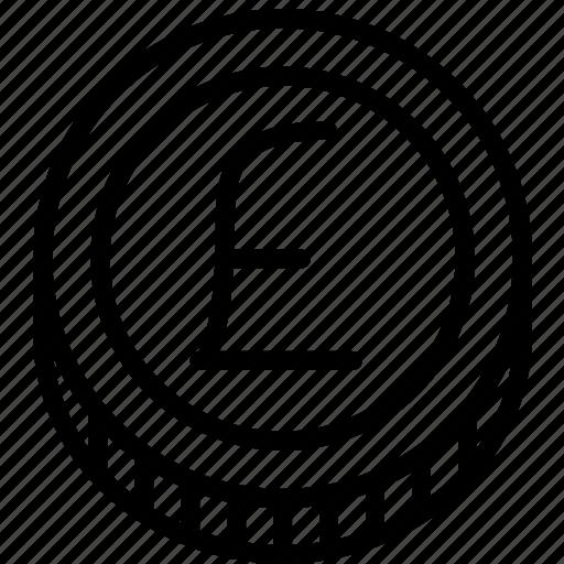 coin, e-commerce, outline, pound icon