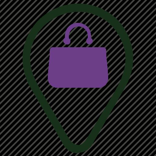 market, pin, shopping icon
