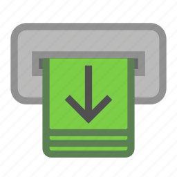 bank, cash, machine, money, out, withdraw icon