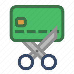 credit, debit, expire, money, scissors icon