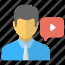 computer-based tutoring, online education, online teacher, video lesson, video tutorial icon