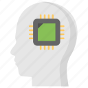 artificial intelligence, machine intelligence, microchip inside brain, software agent, superintelligence icon
