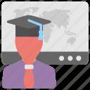 online coaching, online educator, online mentor, online teacher, online tutor icon