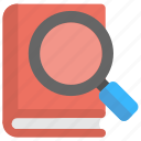 book finding, book search, book with magnifier, online books library, online library icon