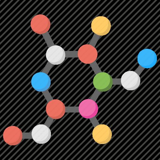 Atom, science, electron, compound, molecule structure icon