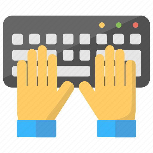 computing, hands on keyboard, programming, typing, typing practice icon