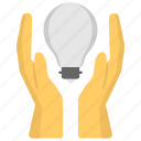 creativity, hands holding bulb, innovation, knowledge and idea, knowledge sharing icon