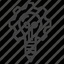 cogwheel, creativity, idea, lightbulb icon
