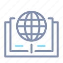 book, e-learning, education, global, globe, learning, reources icon
