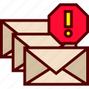 email, inbox, mail, messages, spam, spams, stack icon