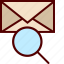 email, find, magnifier, mail, mailing, search icon