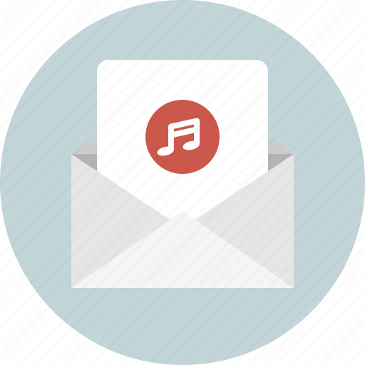 email, envelope, mail, music, new icon