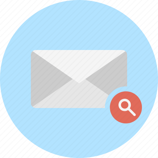 email, envelope, mail, search icon