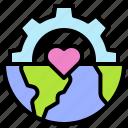 earth, environment, ecology, cog wheel, heart