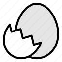 easter, egg, eggshell, food icon