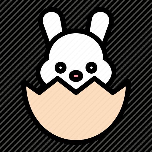 bunny, easter, eggshell, rabbit icon