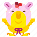 animal, chick, chicken, costume, easter, rabbit