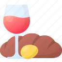 bread, drink, easter, egg, glass, wine icon