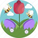 nature, easter, bee, floral, flowers, eggs icon